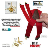 Holdup brand XL Fire Engine Red X-back Style Suspenders for the Big and Tall man with Patented No-slip Gold-tone Clips