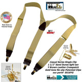 Holdup Casual Series Sand Dunes Tan Y-back Suspenders with Patented Gold-tone No-Slip  Clips