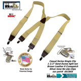 Holdup USA made Sand Dunes Tan Casual Series Suspenders in X-back with Silver Clips