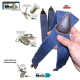 "HoldUp Suspender Company's Dark Blue Denim X-back Suspenders in 1 1/2"" width and Patented No-slip Nickel plated Clips"