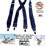 Holdup Suspender Company Steel Blue Satin Finish Corporate Series Suspenders X-back with Patented No-slip Silver Clips