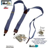 "Holdup Brand USA made Dark Denim Casual Series Suspenders are 1 1/2"" wide with Y-back style and Patented No-slip Silver Clips"
