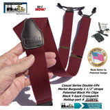 Holdup Suspender Company's Merlot Burgundy Double-Up style Suspenders with black Patented No-slip Clips.