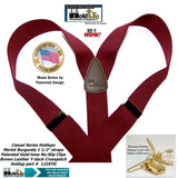 Holdup Y-back Casual Series Suspenders in deep Merlot Burgundy color with Patented No-slip Gold-tone  clips