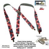 HoldUp Brand Classic Series USA Flag pattern X-back Suspenders with Silver No-slip Clips