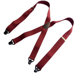 HoldUp's Classic Dark Burgundy Suspenders With Black Gripper Clasps in X-back Style
