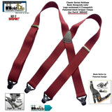 Holdup Classic Dark Burgundy Suspenders With Black Gripper Clasps in X-back Style