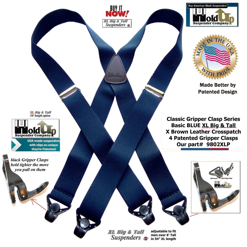 1e1c93215 Holdup Brand XL Classic Series Basic Blue X-back Suspenders with Paten – Holdup  Suspender Company