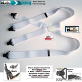 Holdup Brand Classic Series Basic White X-back Suspenders With Black Gripper Clasps