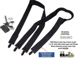 "All Black Hidden Undergarment Suspenders 1 1/2"" wide 54""long, X-back style with No-slip Clips"