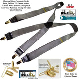 Hold Suspender Company's Dark Charcoal Gray Satin Finished Corporate Series  X-back Suspenders with Gold-tone  Clips
