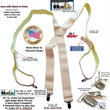 "Beige Invisible Undergarment Suspenders 1 1/2"" Wide XL in X-back Style w/ No-slip Metal Clips"