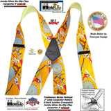 Holdup Tradesman Series Work Suspenders in Carpenter Pattern with Patented Jumbo No-slip Clips
