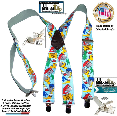 "Hold-Ups Tradesman Series 2"" Wide in Painter Pattern Suspenders with Patented No-slip Silver Clips"