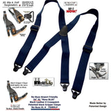 Holdup Brand No-buzz XL Airport Friendly Dark Blue X-back Suspenders with Patented Gripper Clasps