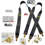 "Hold-Ups Slate Gray 1 1/2"" wide Suspenders in X-back with Patented No-slip Gold Clips"