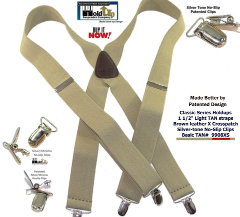 USA Made Classic Series Hold-up brand  light Tan clip-on X-back basic Suspenders with Patented Silver no-slip clips