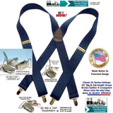 "Hold Suspender Company Classic Dark Blue XL 1 1/2"" Wide Big and Tall Suspenders in X-back Style with Patented silver no-slip clips"