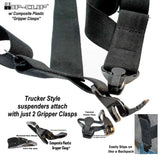 "Hold-Ups Black Trucker Style Hip-clip Suspenders 1 1/2"" Wide with Patented Gripper Clasps"