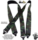 Hold-Up Brand Woodland Camouflage Pattern wide Hold-Up Suspenders w/ Patented Plastic Gripper Clasp