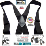 "Hold-Up Brand Shadow Black Heavy Duty Work Suspenders are 2"" Wide with Jumbo Black Patented No-slip Clips"