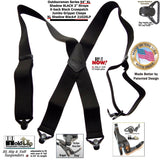 "Holdup Brand XL length Shadow Black 2"" wide Work Suspenders with black composite plastic Jumbo Black Patented Gripper Clasps"