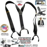 "Hold-Ups Black XL 1 1/2"" wide Casual Series Double-Ups Style Suspenders in Black Pack color and No-slip Clips"
