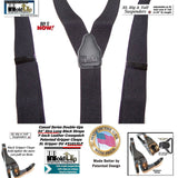 Holdup Black Pack All black XL Double-Up Y-back Suspenders with Patented Gripper Clasps