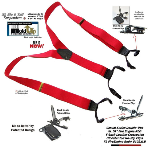 27f1904c520 ... Hold-Ups Extra Long XL Fire Engine Red Dual Clip Double-ups Style  Suspenders
