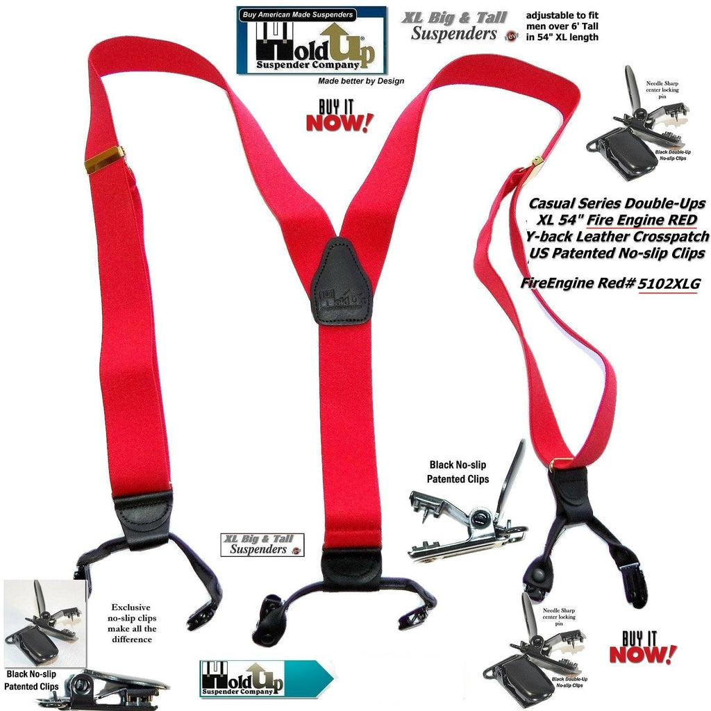 7b9429b5b0d Hold-Ups Extra Long XL Fire Engine Red Dual Clip Double-ups Style Susp –  Holdup Suspender Company