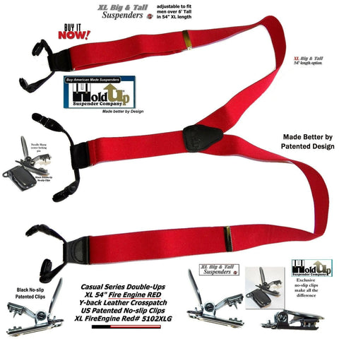 217ca97a029 ... Hold-Ups Extra Long XL Fire Engine Red Dual Clip Double-ups Style  Suspenders ...
