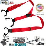Holdup Brand bright Fire Engine Red Dual Clip pant Y-back Suspenders with patented No-Slip black clips