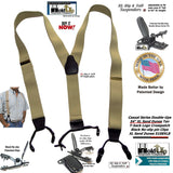 "Sand Dunes Tan XL 54"" Big & Tall Holdup Double-Up Style Suspenders with dual Patented black no-slip clips"