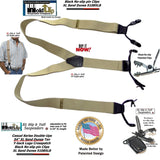 "Holdup Brand Sand Dunes Tan XL 54"" Big & Tall Double-Ups dressy Suspenders with Patented black no-slip clips"