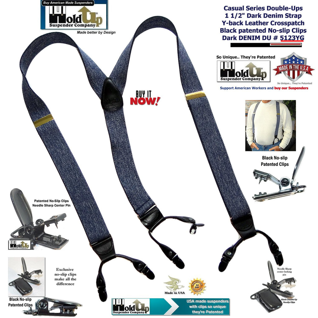 Holdup Brand Dark Blue Denim color Dual Clip Double-Ups style Dressy Suspenders with Patented No-slip clips