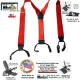 Hold-Ups XL Satin Finish Red Corporate Series Double-Ups style Suspenders with No-slip Clips