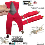 "Hold-Ups XL Logger Red Suspenders 2"" wide X-back with Patented No-slip Nickel metal clips"