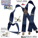 Contractor Series Holdup Navy Blue wide work Suspenders with Jumbo Silver-tone No-slip Clips