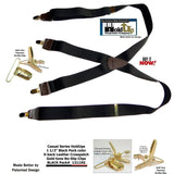 "Hold-Ups Black Pack 1 1/2"" Suspenders in X-back with Patented No-slip Gold Clips"