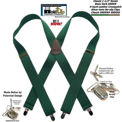 "Hold-Ups 1 1/2"" Wide Classic Dark Green X-back Suspenders with Silver No-slip Cl"
