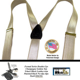 USA Made Holdup Champagne/Tan Satin Fabric Finish, Formal, Double-ups Styled Suspenders