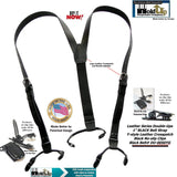 HoldUp narrow Black Belt Strap Style Genuine Bonded Leather Suspenders with black no-slip clips