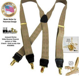 Jacquard Series Elddis diamond Pattern Tan X-back Holdup Suspenders with No-slip Gold-tone Clips