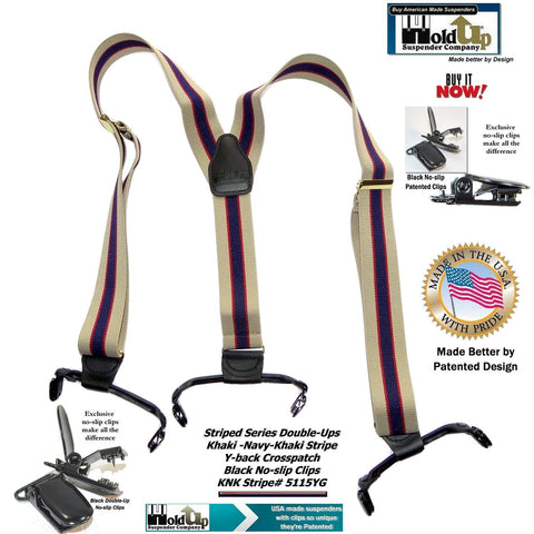 "Hold-Up Brand Khaki Tan and Navy stripe pattern suspenders with 1 1/2"" wide straps in Double-Up Style and patented No-slip Clips"