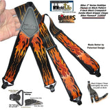 Holdup Brand Flame Pattern Heavy Duty Biker X-back Suspenders with Jumbo Gripper Clasps