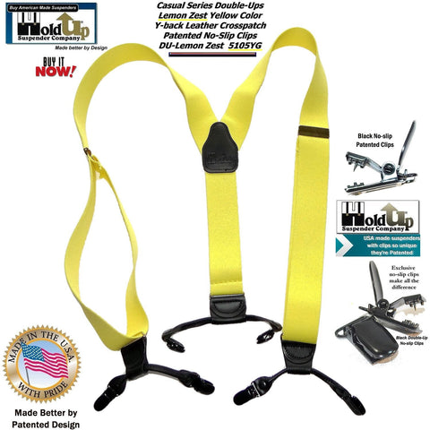 "Hold-Ups Pale Yellow 1 1/2"" Wide Double-Ups Style Suspenders with black Patented No-slip Clips"