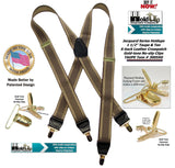 Hold-Ups Taupe and Tan Jacquard Weave X-back Suspenders with Gold No-slip Clips