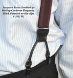 Burgundy Cordovan Dual-clip Men's Holdup Suspenders with Tone-on-tone Jacquard weave with patented no-slip clips