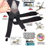 Holdup XL Black Industrial Series Non-elastic Suspenders with No-slip Jumbo Silver Clips