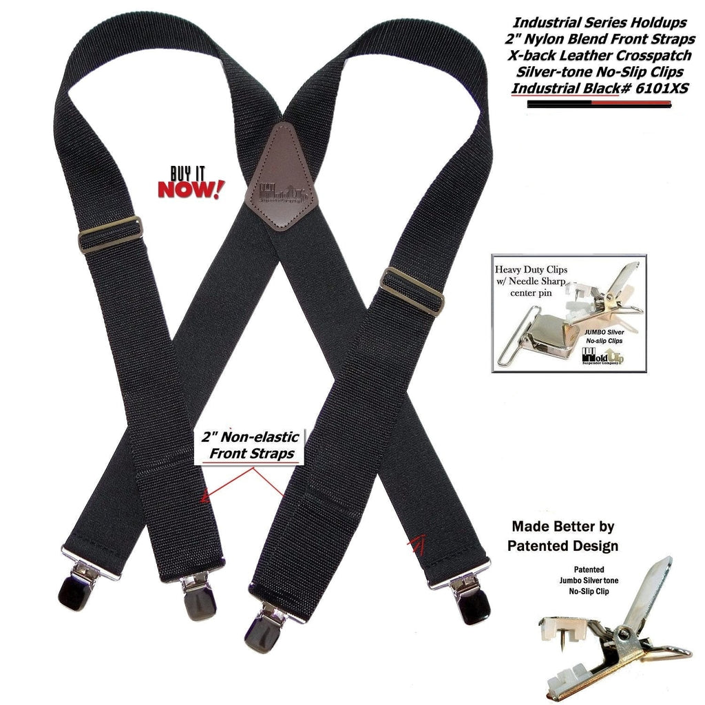 "Hold-Ups Black Industrial 2"" Wide Non-elastic Suspenders with No-slip Jumbo Silver no-slip clips"